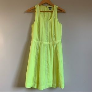 DKNY neon yellow sleeves embroidered dress size 6